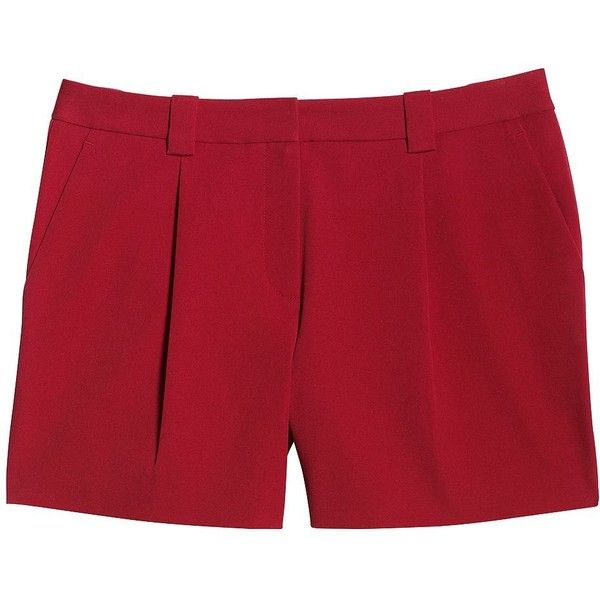 Canvas by Lands' End Women's Bi-Stretch Shorts ($65) ❤ liked on Polyvore featuring shorts, red, pleated shorts, stretchy shorts, red shorts, stretch shorts and summer shorts