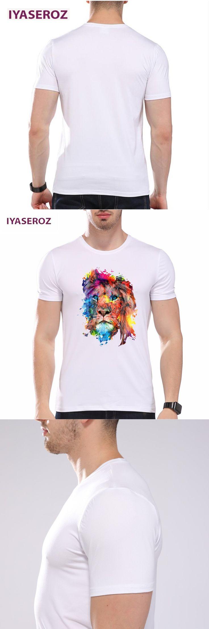 IYASEROZ 2017 Men's  Summer Halajuku Modal T-shirt Funny Colorful Lion Design Print Plus Size Short Sleeve Tops Tees for Unisex