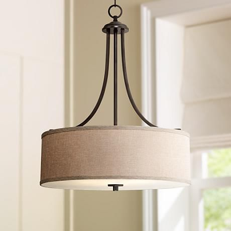 la pointe 19 12 wide oatmeal linen shade pendant light style 3c051 kitchen lighting over tablekitchen. Interior Design Ideas. Home Design Ideas