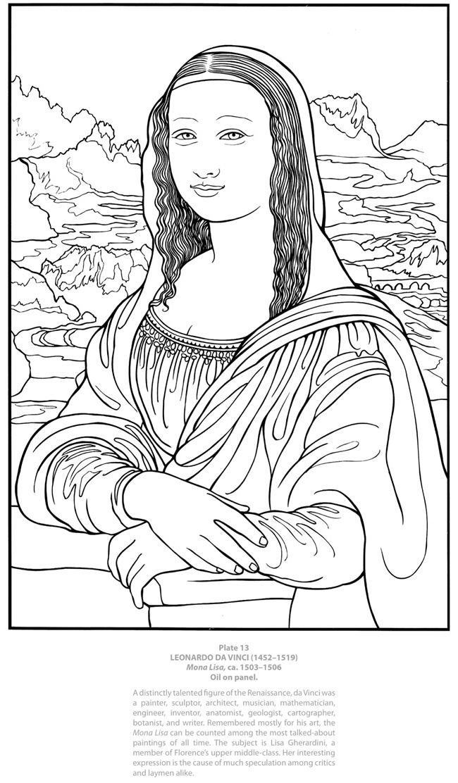a4d07c025ac498b9300d9633fda165c3jpg 6501112 leonardo da vincihomeschoolingfamous artistsdover publicationsbeautifulmona lisacoloring pagescoloring - Mona Lisa Coloring Page