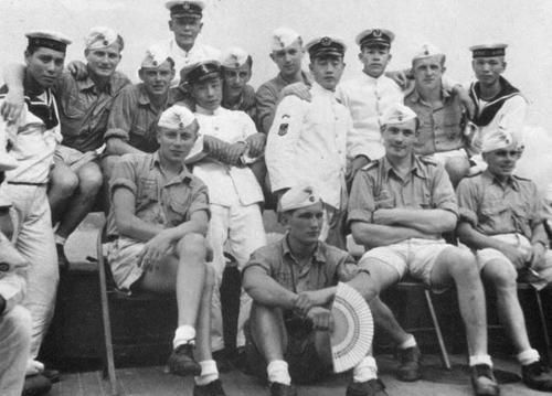 german and japanese sailors during a u-boat mission to japan in 1943