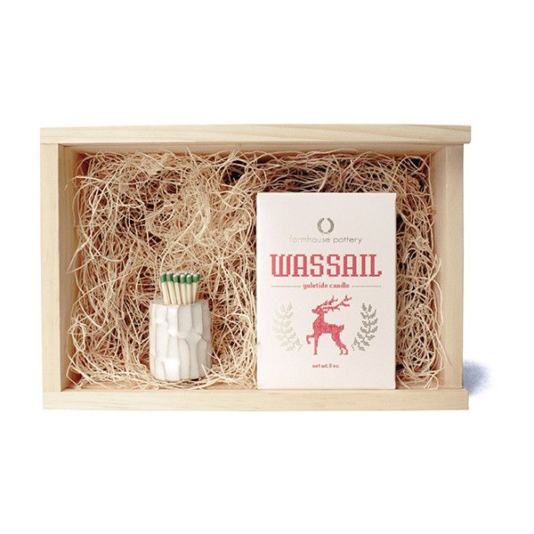 Farmhouse Pottery White Log Match Striker and Wassail Candle Gift Set (120 AUD) ❤ liked on Polyvore featuring home, home decor, candles & candleholders, decor, white home accessories, white home decor, essential oils gift set, winter candles and winter scented candles