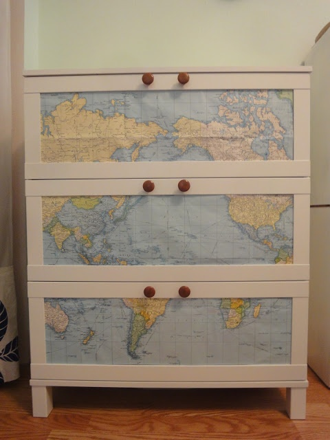 Ikea Aneboda DIY with map - this would be cool with old USFS maps I have laying around!