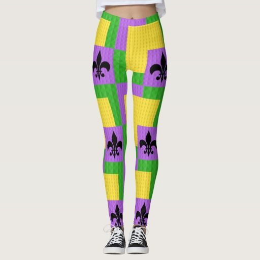Mardi Gras Patterned Leggings With Fleur De Lis The pattern on these leggings will easily put you in the spirit of Mardi Gras! The bright customary colors of the Louisiana holiday are represented in the green, purple, and gold tones and accented with a bold black fleur de lis. Coordinate with your favorite Mardi Gras attire, and wear them to the parades or on the streets in New Orleans!