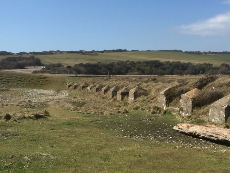 Tank traps on the beach at Cuckmere Haven, East Sussex