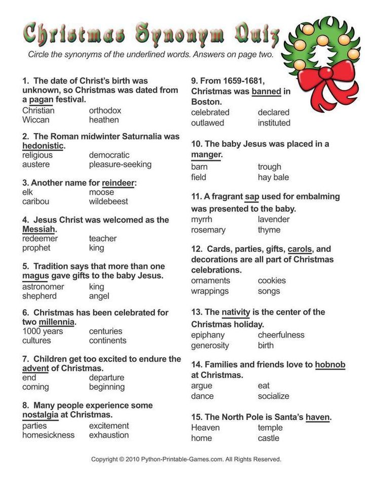 christmas christmas synonyms worksheet quiz christmas printable games pinterest. Black Bedroom Furniture Sets. Home Design Ideas