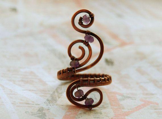 Anello rame regolabile anello rame gioielli pietra di 7Stone