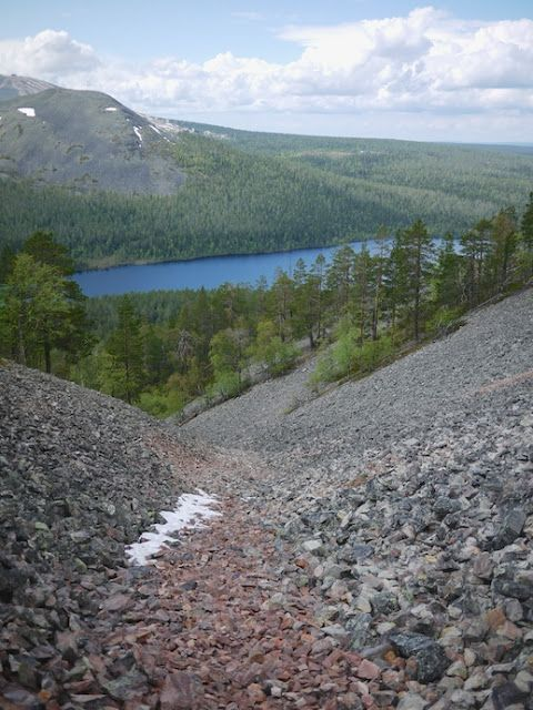 The Aakenus Fells in Lapland, Finland. The Pirunkuru rock-strewn ravine.