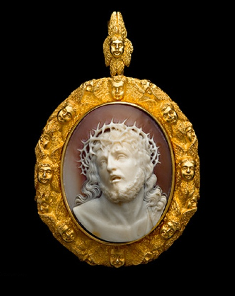 """Shell cameo, mid 19th century. Inspired by Guido Reni's paintings of this subject which shows Christ being presented to the people, crowned with thorns and wearing a purple robe. The crowd instead of taking pity on Him, screamed """"Crucify Him"""" after the Roman Governor, Pontius Pilate said """"Ecce Homo"""" or Behold the Man. The expression on the face of Christ is one of extreme suffering mingled with compassion for his persecutors... Diana Scarisbrick"""