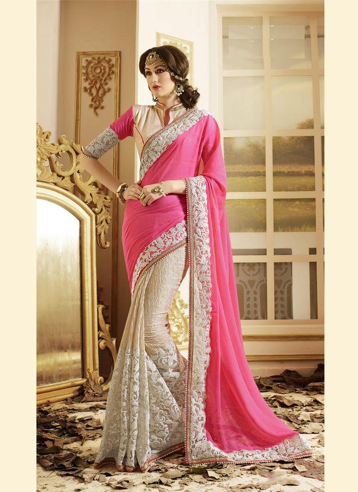 Appealing Hot Pink Embroidered Work Designer Saree