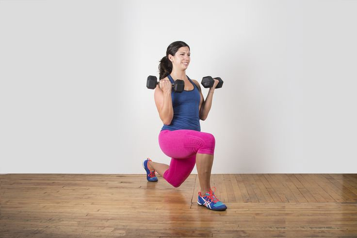 Lunge with Biceps Curl #lunge #bodyweightexercise #bodyweight http://greatist.com/move/lunge-variations-you-need-to-know