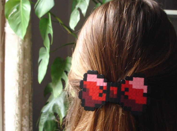 8bit Bow Barrette. Black & Red, Pink, Burgundy or Multicolor. Choose your Style.. €5.30, via Etsy.
