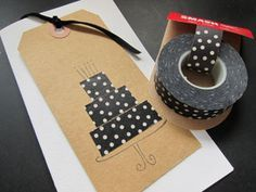 A nice and easy birthday card to make with wasabi tape. great use for Washi tape!