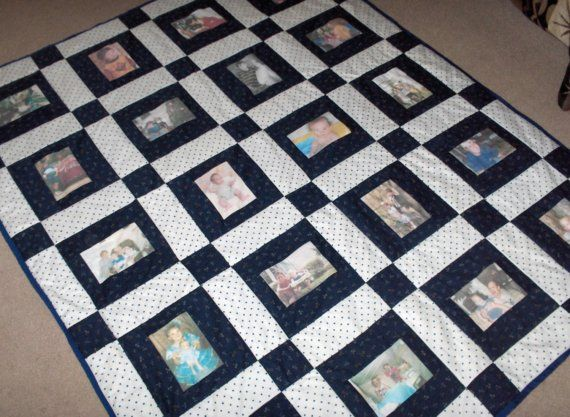 This custom quilt measures 56in x 70in    This quilt comes with 20 photos of your choice printed onto Pretreated Photo Fabric. Photos are waterproof and washable! Photos are NOT ironed on, they are printed directly into the fabric and are at a higher quality then you will find anywhere else!    Fabric colors & patterns are your choice. We can set up a time for me to be at the fabric store and you to be available at your cell phone and I will text you picture of fabrics that match your…