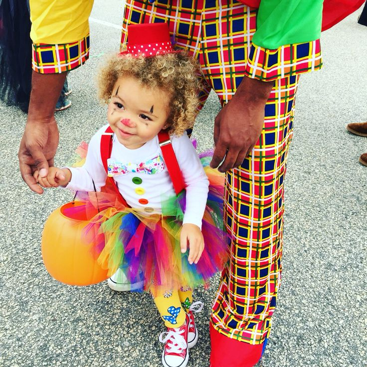 My daughter Khloe's toddler clown costume. Halloween 2015 . #halloween #toddlercostume #clown #costume