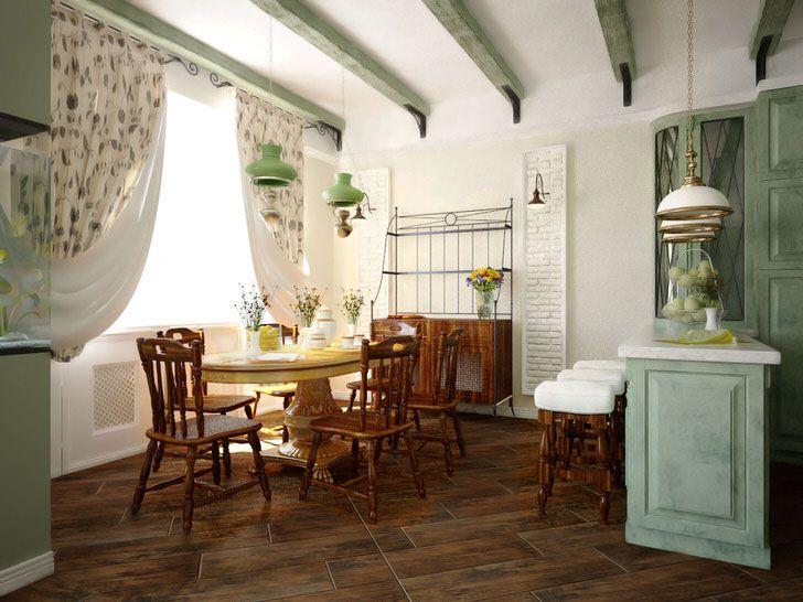 Светлая гостиная в стиле кантри - отличный вариант для любителей домашнего уюта и комфорта. Фото