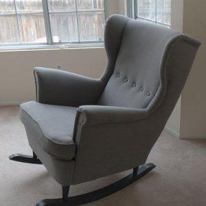 Poltrona Strandmon Ikea trasformata in sedia a dondolo