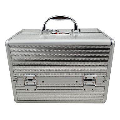 Sliver 3 Trays Jewelry Comestic Organizing Makeup Train Case Aluminum Box