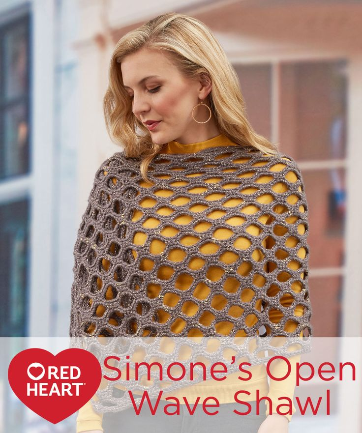 Simone's Open Wave Shawl Free Crochet Pattern in Red Heart Gleam yarn -- Not only does this shawl have a cool modern look, it is also quick to crochet. And although this yarn has a metallic thread wrapped around it, the unevenness of the wrapping gives it a go-anywhere vibe that works for casual or dressy occasions.