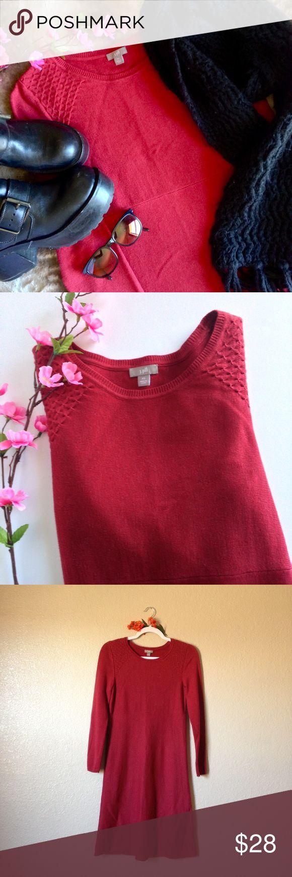 J. Jill Long Sleeve Sweater Dress Beautiful J. Jill red sweater dress, gently used, size XS. I accept reasonable offers ☺ J. Jill Dresses Midi