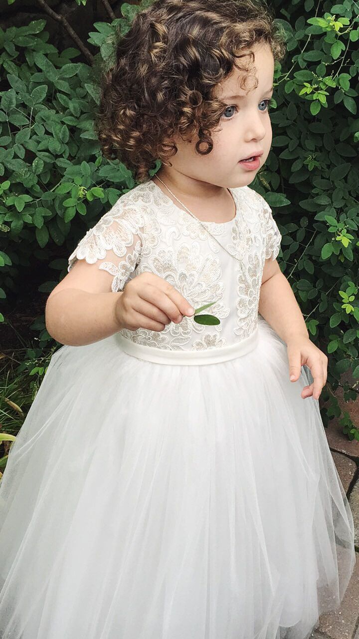 1929354a20c Flower girl dress with lace sleeves and tulle skirt