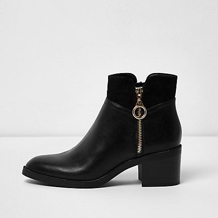 Black double zip block heel ankle boots €55.00