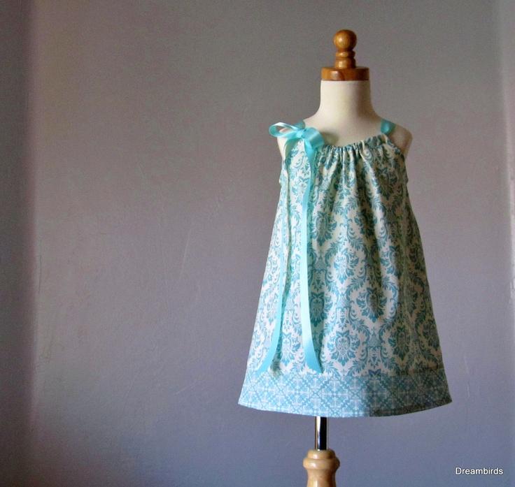 Girls Aqua Pillowcase Dress - Aqua and Cream Damask Sun Dress - Girls Summer Dress - Size or 10 & 85 best Pillowcase Dresses images on Pinterest | Pillowcase ... pillowsntoast.com