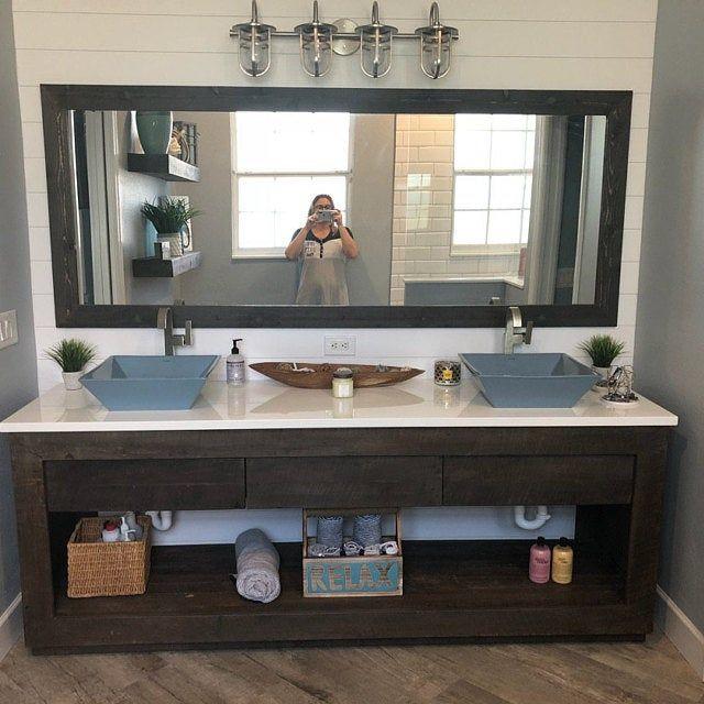 Rustic Bathroom Vanity 48 Reclaimed Barn Wood Vanity W Barn Tin 5710 In 2020 Rustic Bathroom Vanities Reclaimed Barn Wood Wood Vanity