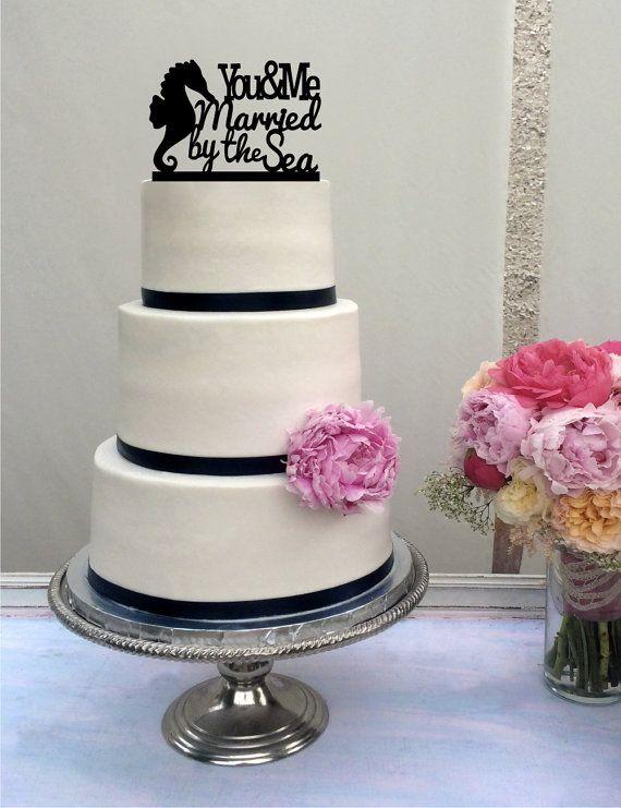 Beach Wedding Cake Topper  Destination Wedding by SugarBeeEtching, $30.00
