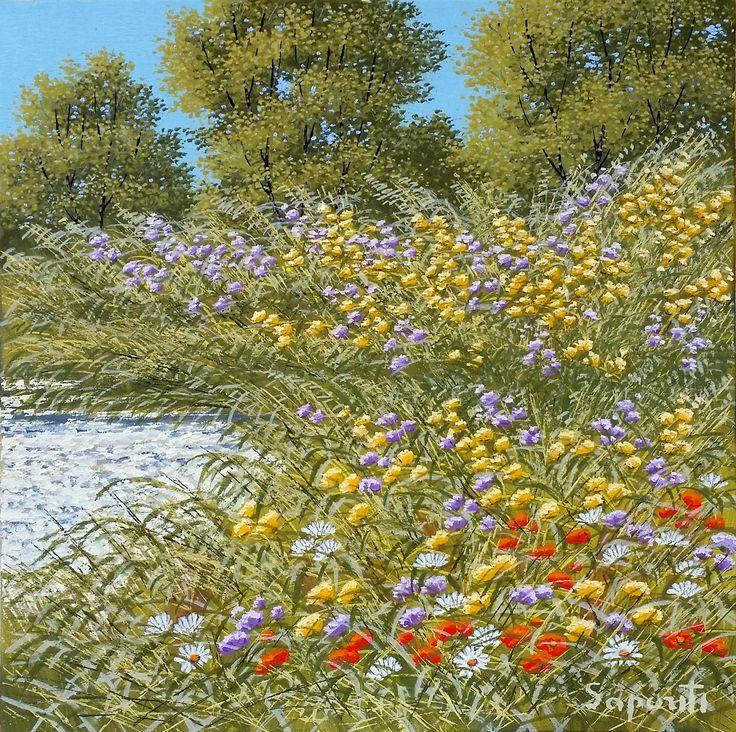 pittura-olio su tela-paesaggio con fiori-Angolo fiorito