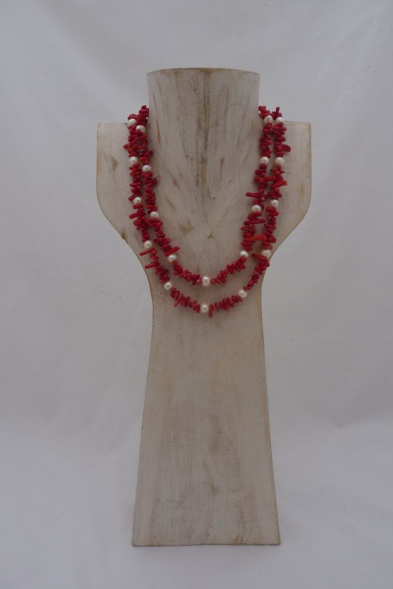 Coral and Fresh water Pearl long Necklace . by UPMARKETJEWELS