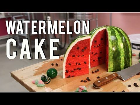 How To Cake A WATERMELON CAKE! PINK VELVET cakes with BUTTERCREAM and FONDANT! - YouTube