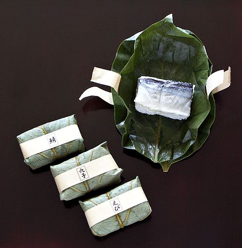 Sushi wrapped in green leaf. #japanese #package #design