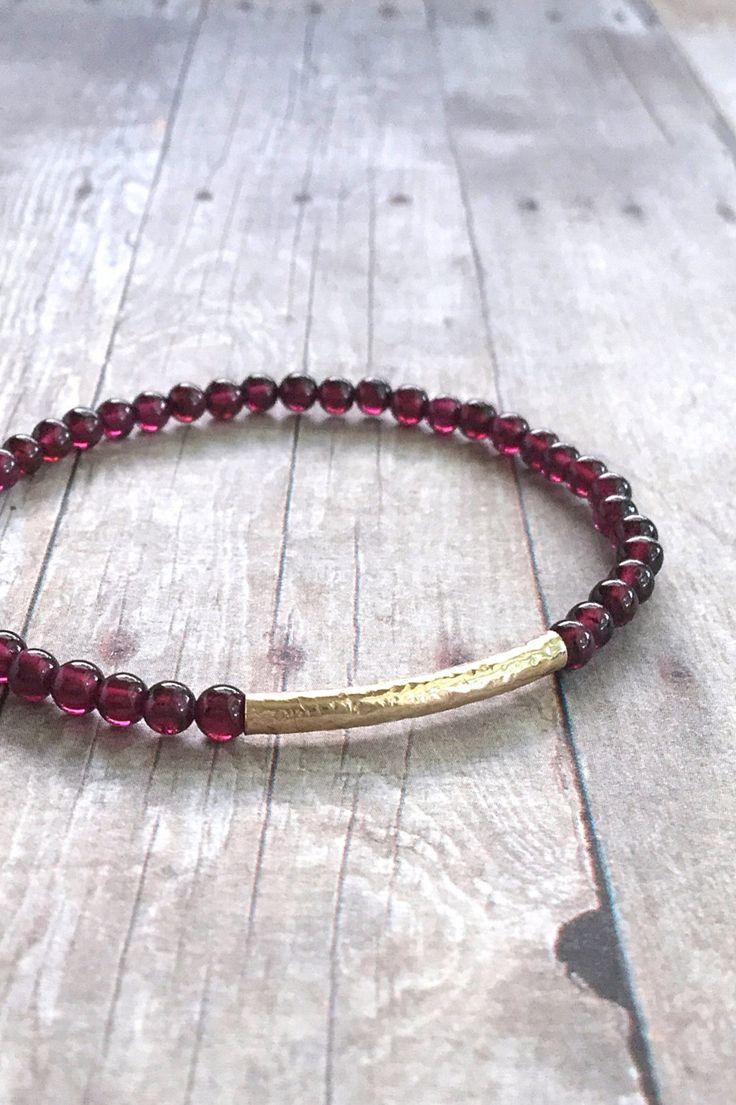 Gold Bar Bracelet / Gold Garnet Bracelet / Red Gemstone Jewelry / Dainty Small Bead Stretch Bracelet / Gold Filled Custom Jewelry by GemsByKelley on Etsy