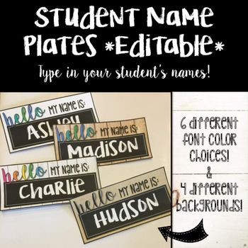 Don't want HUGE name plates on your student's desks? These name tags are 9.5 x 4.5 inches and fit perfectly on desks!All you need to do is type in your student's names, print on cardstock and laminate or cover on their desks! Could also be used as name tags OR students could hold up their name tag and take a picture with it! :)**The text boxes to type student's names are the only editable part of the name tag**4 Different Backgrounds: White Background Burlap Background Shiplap Background…