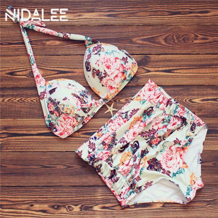 Plus Size Bikini Hoge Taille Bikini Gedrukt Plus Size badmode vrouwelijke 2017 badpak plus size bikinis vrouwen badpakken 3XL