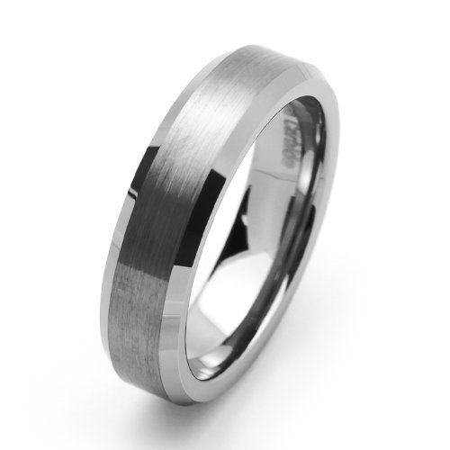 tungsten carbide satin mens wedding band ring size 5 16 metal factory 999 - Hypoallergenic Wedding Rings