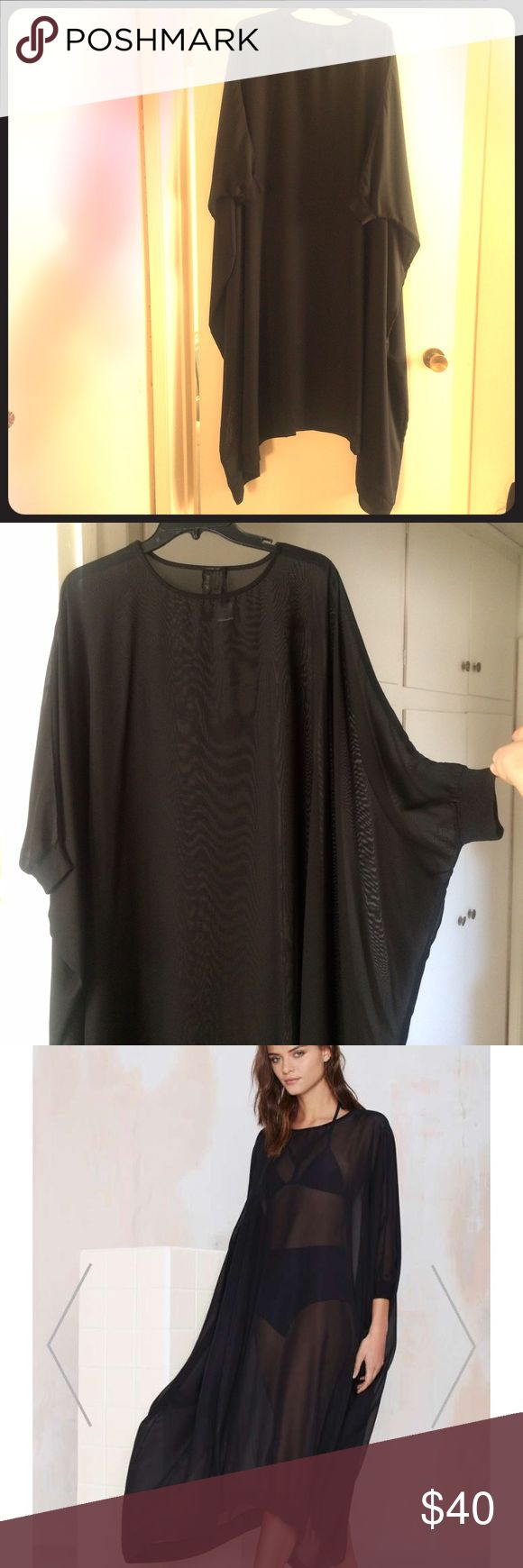 Nasty Gal sheer swim cover up NWOT. This sexy cover up features dolman sleeves, an oversized maxi silhouette, and ribbing at the neck, cuffs, and hem. Perfect for the pool, or to wear with hot pants and a leather bra top. 100% polyester Nasty Gal Swim Coverups
