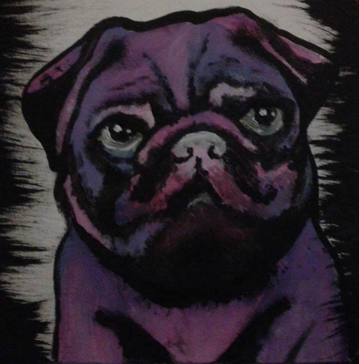purple pug artwork acrylics