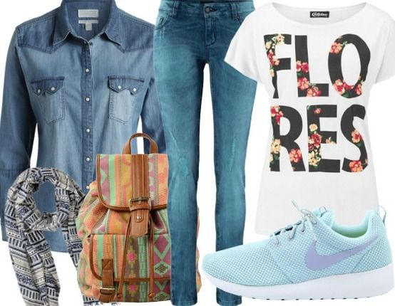Denim - Sportieve Outfits - nike sneakers - sacha rugzak - barts sjaal - laura  scott jeans - esprit blouse - chillytime T-shirt.