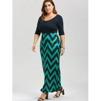 Plus Size Chevron Bowknot Decorated Mermaid Dress - BLACK/GREEN 4XL