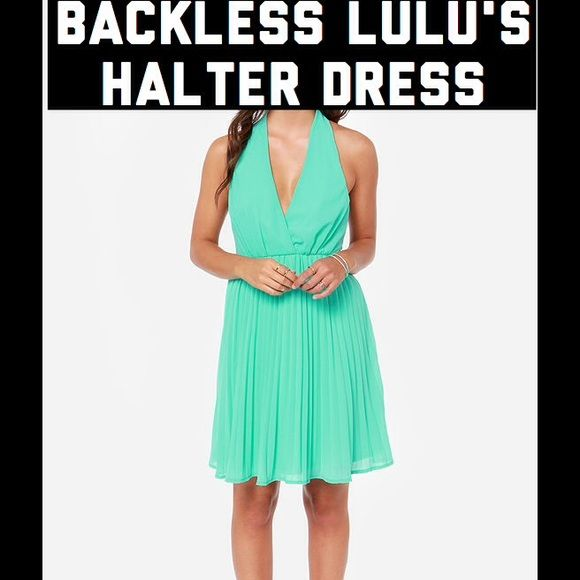 """Backless pleated halter dress. Super cute, worn once. """"Marilyn sea green halter dress"""". Backless dress, elasticized halter with v-neck front. Pleated fabric. (Polyester). Elasticized waist. Lulus brand. Lulu's Dresses Backless"""