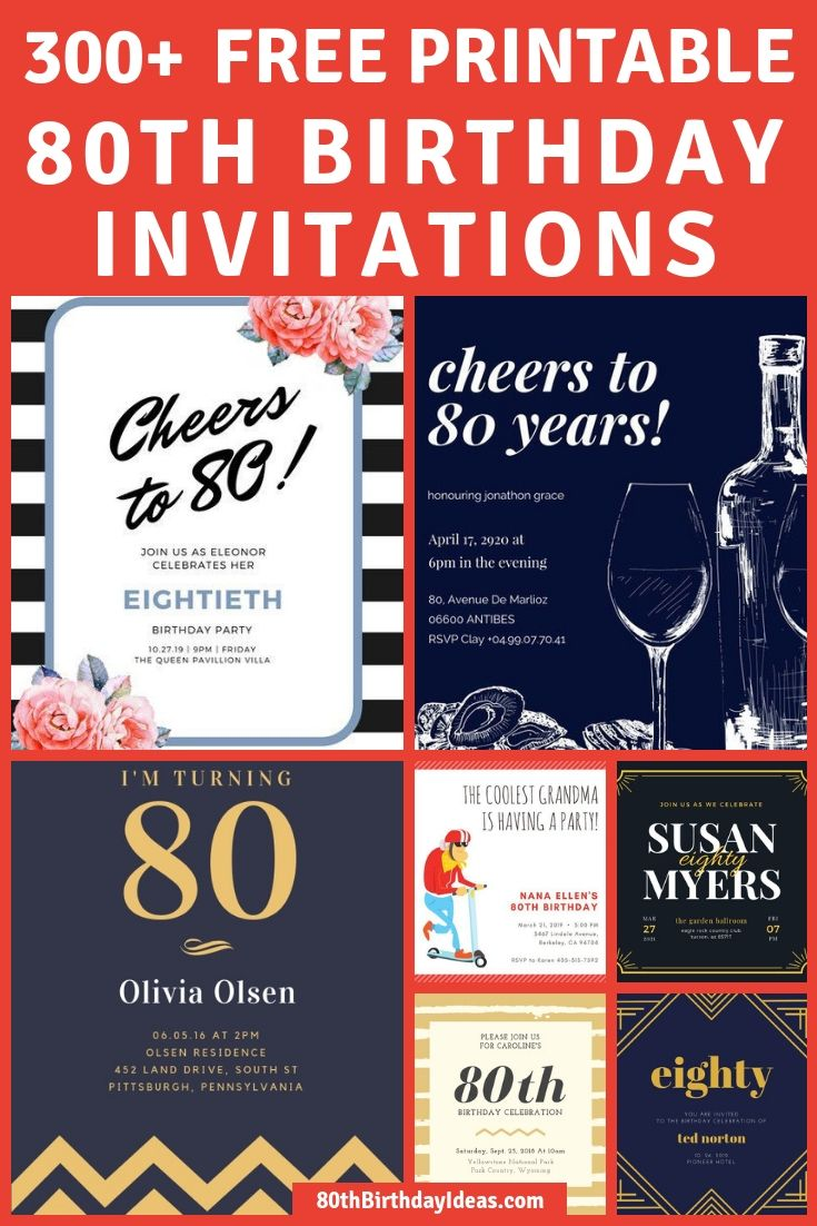 Looking For Free Printable 80th Birthday Invitations Choose From Over 300 Fun Templates Easily Design Your Own And Print Them At