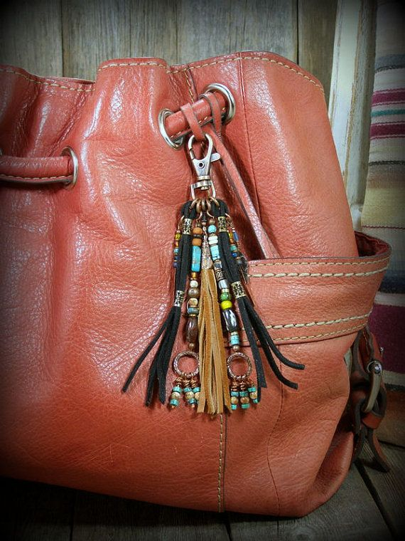Add some bohemian style to your purse or bag with a southwest fringe tassel clip by StoneWearDesigns