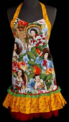 Day of the Dead, Mexican Calendar Girl & Oilcloth Aprons, Pot holders & Diva dish gloves from MexicanSugarSkull.com