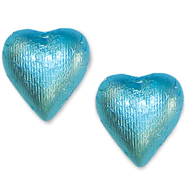 Tiffany Blue Foiled Milk Chocolate Hearts • Chocolate Candy Delights • Bulk Chocolate • Oh! Nuts®