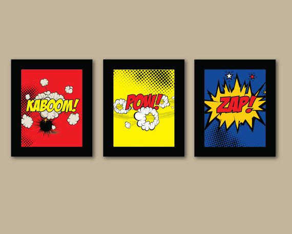 Set of 3 Comic Superhero Prints - 8x10 Prints - Comic Book - Boys Room Decor - Kids Room Wall Art via Etsy