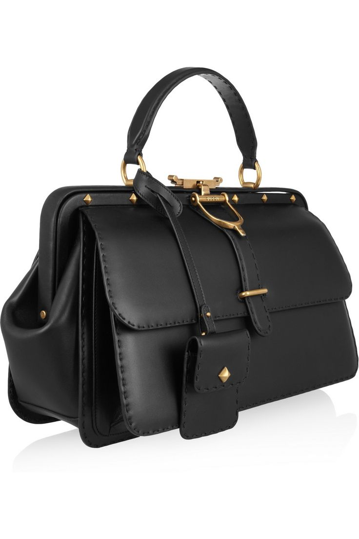 Gucci Lady Stirrup Studded Leather Doctor Bag in Black | Lyst #FASHION MK BAGS# MICHAEL KORS