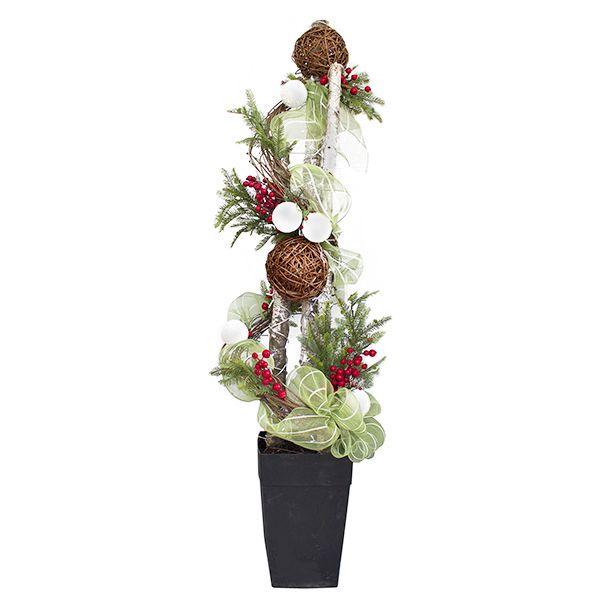 Arrangement avec sapinage, boule de vigne et baies, 6'/Illuminated custom made arrangement with birch, fir branches, vine ball and berries, 6'
