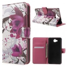 Huawei Y6 Pro violetit kukat puhelinlompakko.